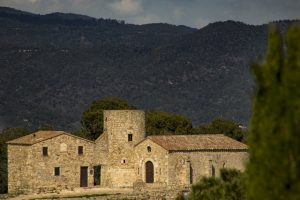 A small church overlooks Costa Brava Spain