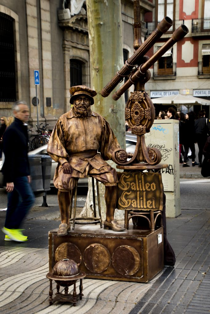 Living Statue of Galileo in Barcelona, Spain