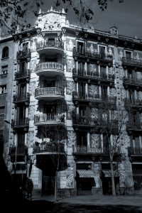 High contrast photograph of a building in Barcelona, Spain