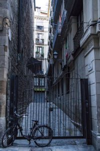 A gated alley in Barcelona, Spain