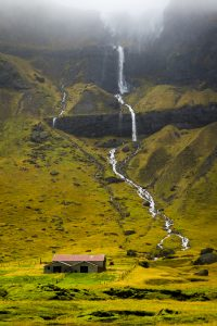Two waterfalls and Farmhouse in Iceland